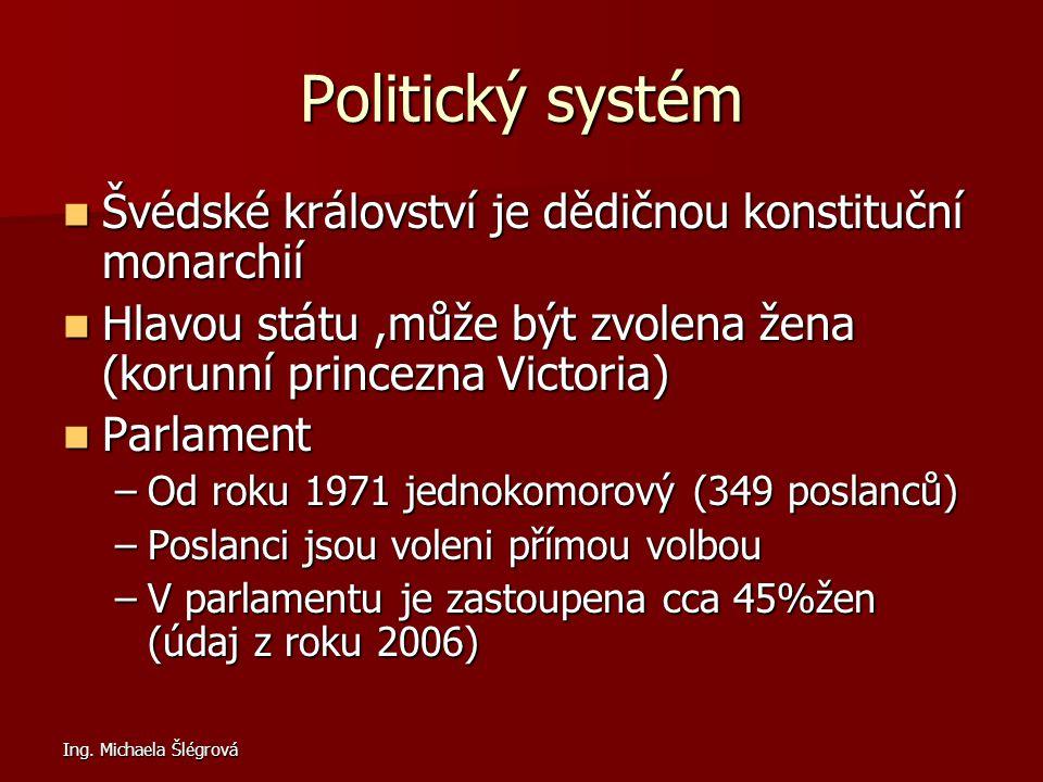 Ing. Michaela Šlégrová Politický systém Švédské království je dědičnou konstituční monarchií Švédské království je dědičnou konstituční monarchií Hlav