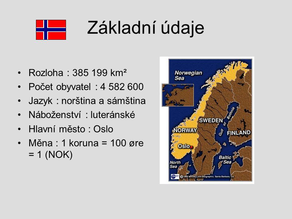 Základní údaje Rozloha : 385 199 km² Počet obyvatel : 4 582 600 Jazyk : norština a sámština Náboženství : luteránské Hlavní město : Oslo Měna : 1 koru