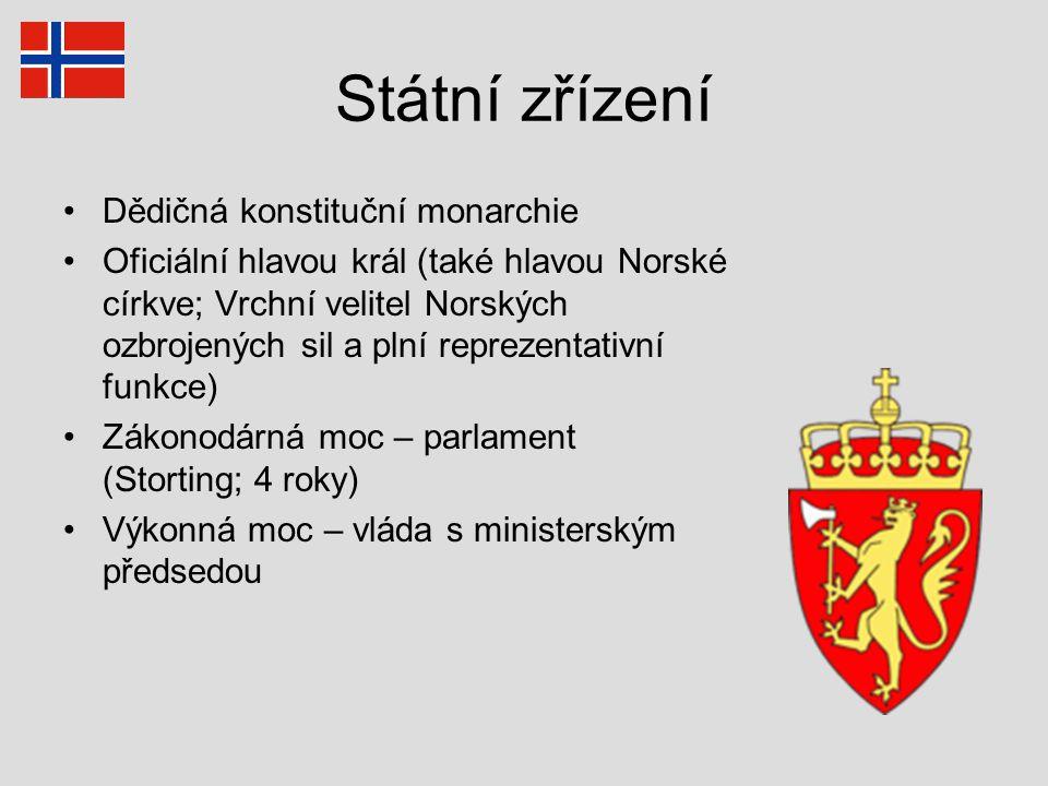 Státní zřízení Dědičná konstituční monarchie Oficiální hlavou král (také hlavou Norské církve; Vrchní velitel Norských ozbrojených sil a plní reprezen