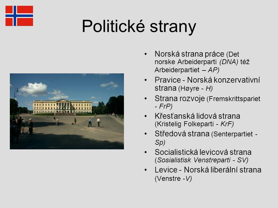 Politické strany Norská strana práce (Det norske Arbeiderparti (DNA) též Arbeiderpartiet – AP) Pravice - Norská konzervativní strana (Høyre - H) Stran