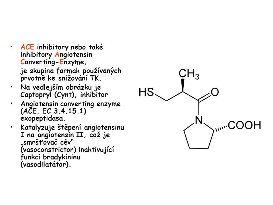 ACE inhibitory nebo také inhibitory Angiotensin- Converting-Enzyme, je skupina farmak používaných prvotně ke snižování TK. Na vedlejším obrázku je Cap