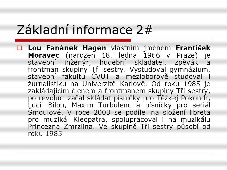 Základní informace 2#  Lou Fanánek Hagen vlastním jménem František Moravec (narozen 18. ledna 1966 v Praze) je stavební inženýr, hudební skladatel, z