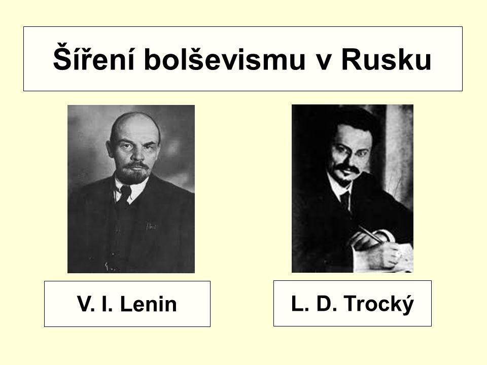 V. I. Lenin L. D. Trocký Šíření bolševismu v Rusku