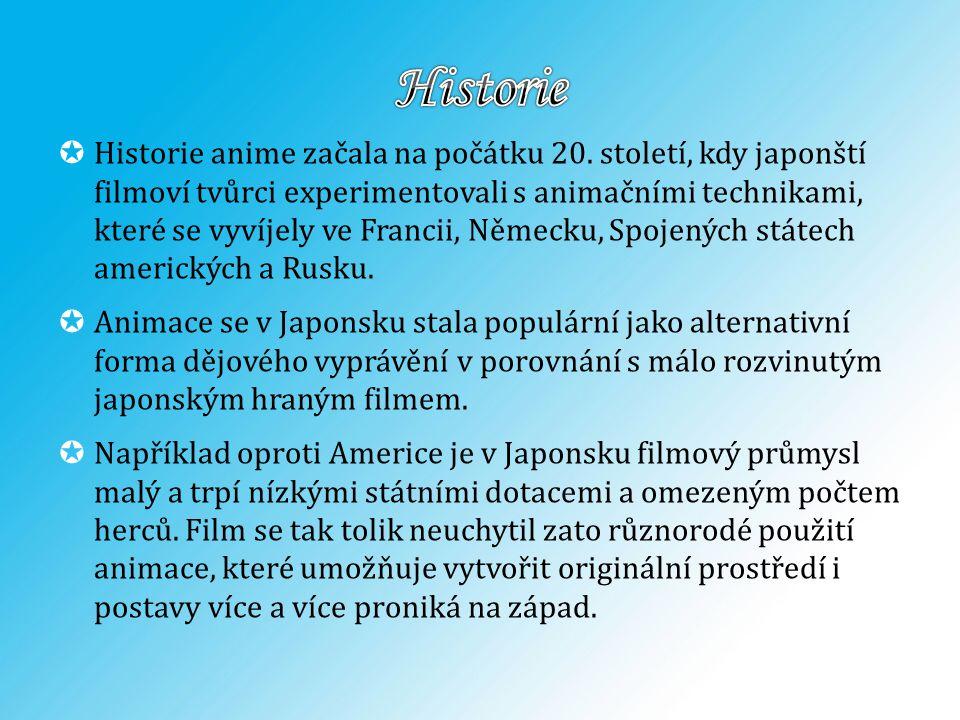  Historie anime začala na počátku 20. století, kdy japonští filmoví tvůrci experimentovali s animačními technikami, které se vyvíjely ve Francii, Něm