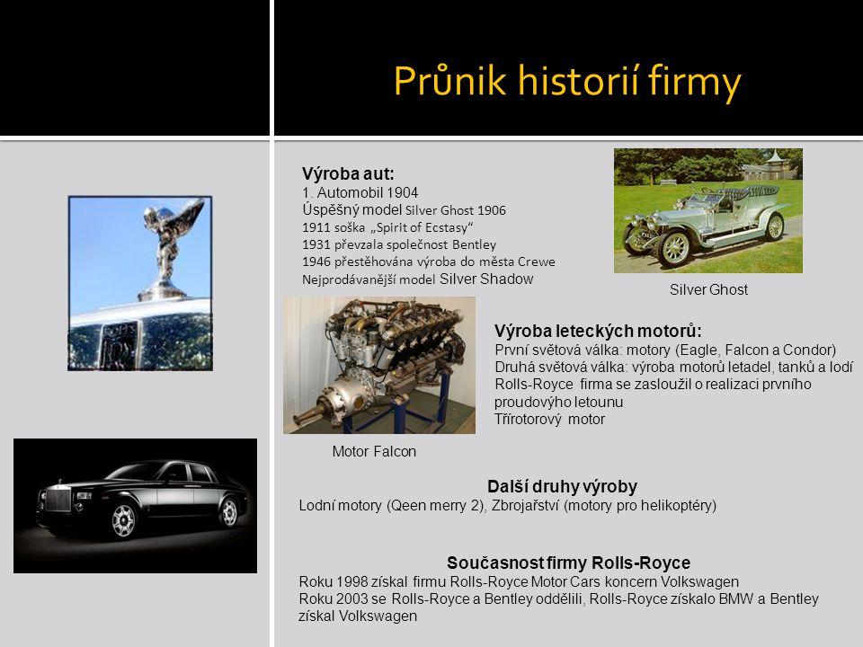 """Průnik historií firmy Výroba aut: 1. Automobil 1904 Úspěšný model Silver Ghost 1906 1911 soška """"Spirit of Ecstasy"""" 1931 převzala společnost Bentley 19"""