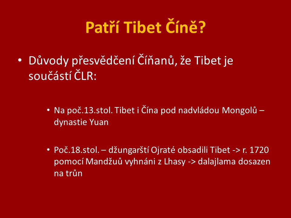 """Anexe 1951 vstup vojsk do Lhasy (""""osvobození ) -> Tibet poprvé v dějinách pod přímou vládou Číny (do té doby nezávislá vláda) 1951 Sedmibodová dohoda 1959 povstání a úprk dalajlamy 28.3."""