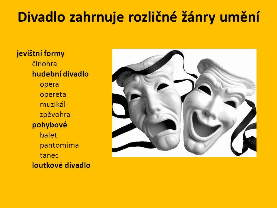 Divadlo zahrnuje rozličné žánry umění jevištní formy činohra hudební divadlo opera opereta muzikál zpěvohra pohybové balet pantomima tanec loutkové divadlo