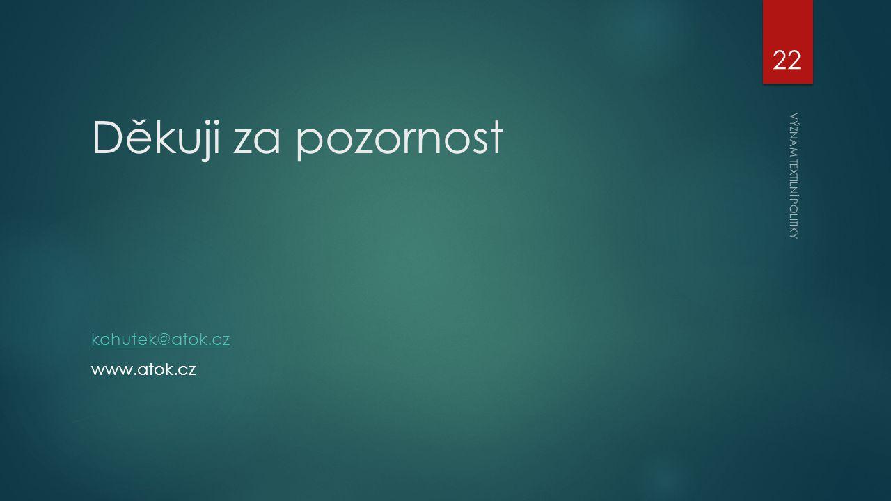 Děkuji za pozornost kohutek@atok.cz www.atok.cz VÝZNAM TEXTILNÍ POLITIKY 22
