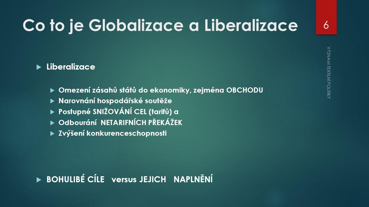 Co to je Globalizace a Liberalizace  Liberalizace  Omezení zásahů států do ekonomiky, zejména OBCHODU  Narovnání hospodářské soutěže  Postupné SNIŽOVÁNÍ CEL (tarifů) a  Odbourání NETARIFNÍCH PŘEKÁŽEK  Zvýšení konkurenceschopnosti  BOHULIBÉ CÍLE versus JEJICH NAPLNĚNÍ VÝZNAM TEXTILNÍ POLITIKY 6