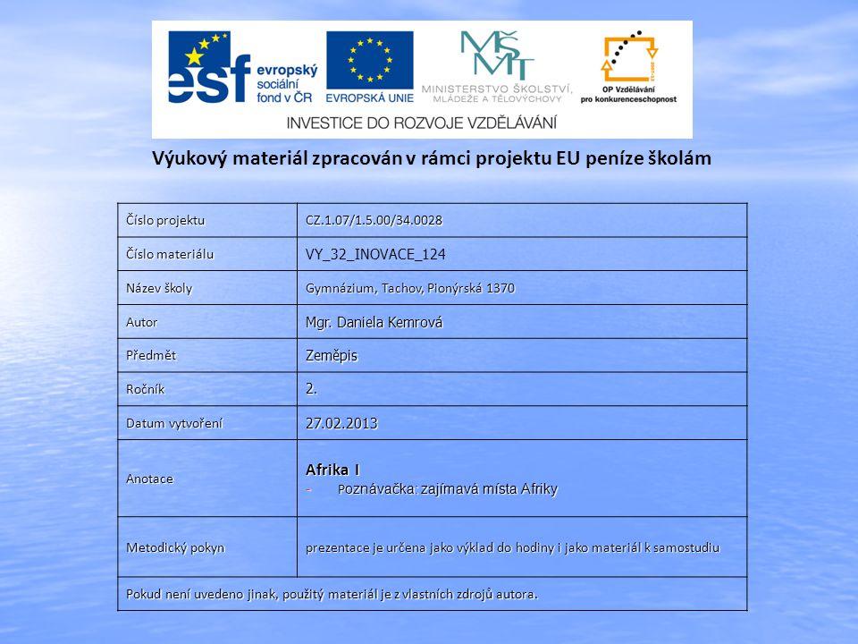 Číslo projektu CZ.1.07/1.5.00/34.0028 Číslo materiálu VY_32_INOVACE_124 Název školy Gymnázium, Tachov, Pionýrská 1370 Autor Mgr.