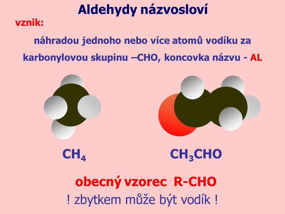 CH 4 náhradou jednoho nebo více atomů vodíku za karbonylovou skupinu –CHO, koncovka názvu - AL Aldehydy názvosloví vznik: CH 3 CHO obecný vzorec R-CHO