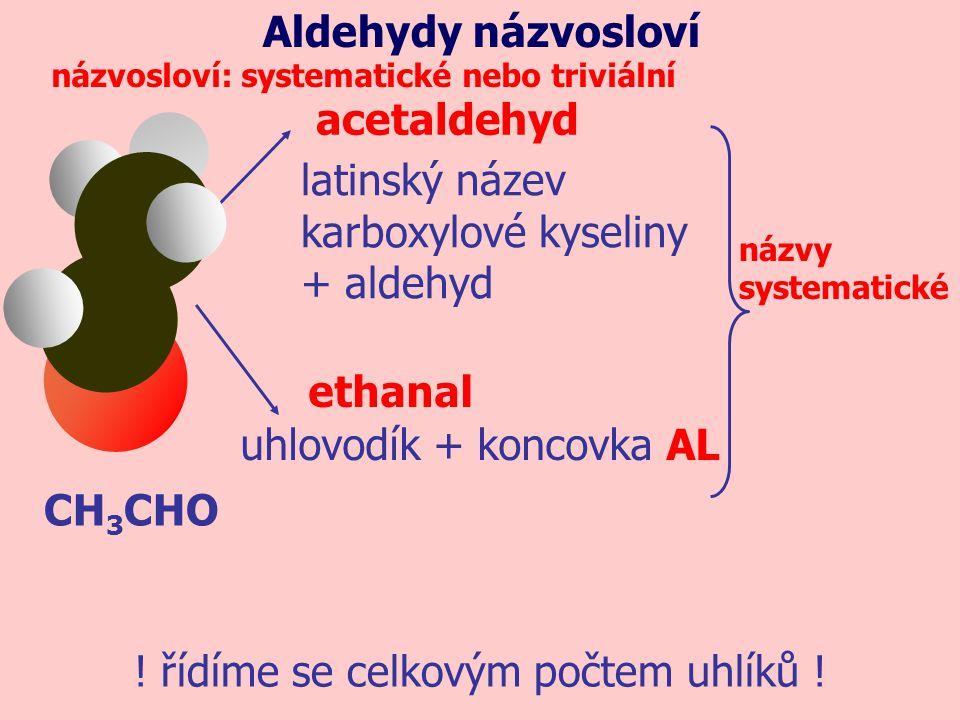 CH 3 CHO acetaldehyd latinský název karboxylové kyseliny + aldehyd názvosloví: systematické nebo triviální názvy systematické ethanal uhlovodík + konc