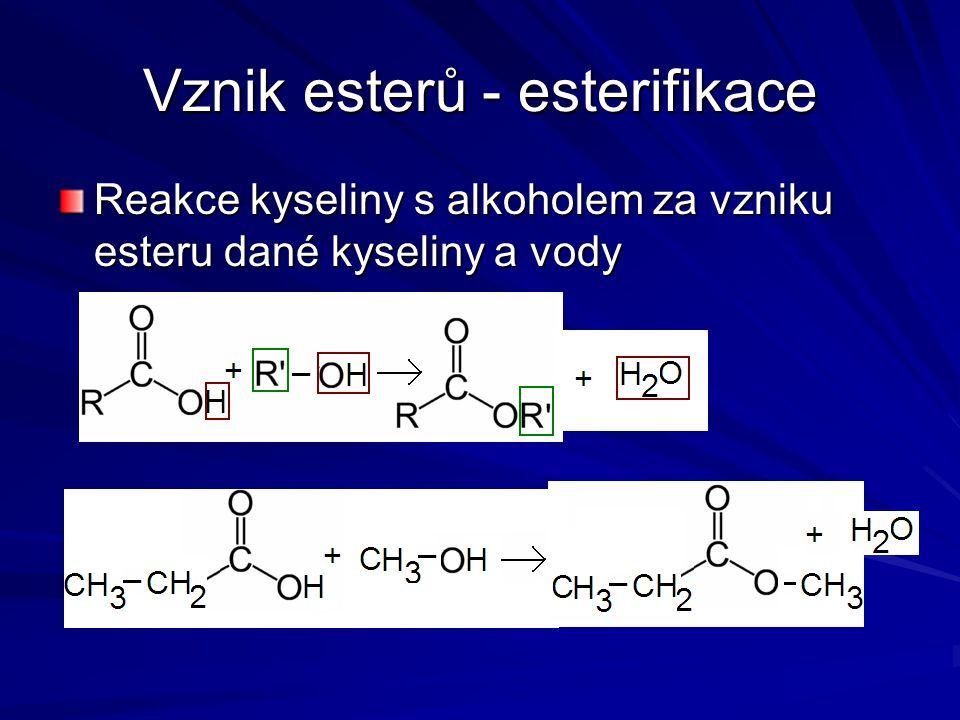Vznik esterů - esterifikace Reakce kyseliny s alkoholem za vzniku esteru dané kyseliny a vody