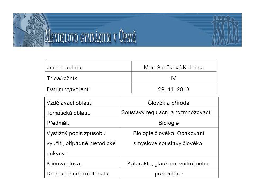téma: Smyslová soustava - opakování