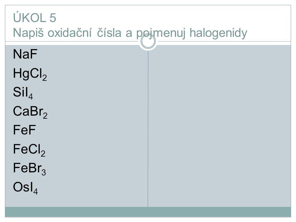 ÚKOL 5 Napiš oxidační čísla a pojmenuj halogenidy NaF HgCl 2 SiI 4 CaBr 2 FeF FeCl 2 FeBr 3 OsI 4