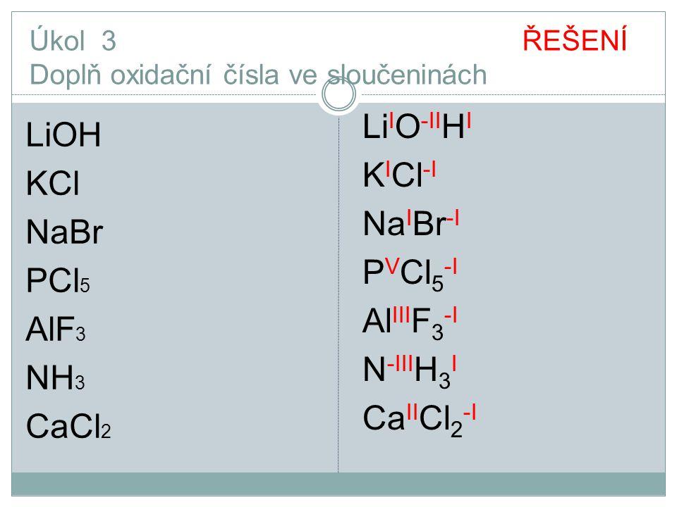 Úkol 3 ŘEŠENÍ Doplň oxidační čísla ve sloučeninách LiOH KCl NaBr PCl 5 AlF 3 NH 3 CaCl 2 Li I O -II H I K I Cl -I Na I Br -I P V Cl 5 -I Al III F 3 -I