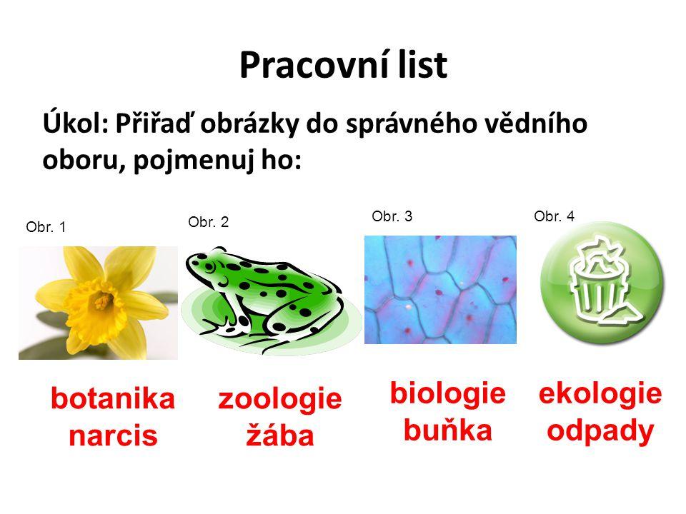 Pracovní list Úkol: Přiřaď obrázky do správného vědního oboru, pojmenuj ho: Obr. 1 Obr. 2 Obr. 3Obr. 4 ekologie odpady zoologie žába biologie buňka bo