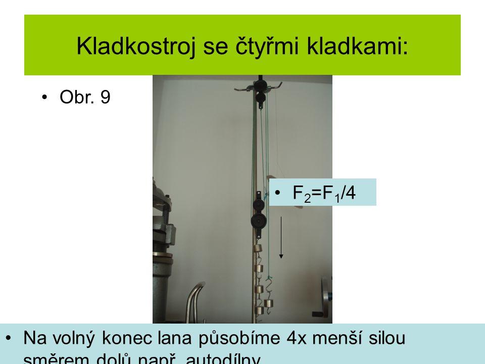Hmotnost jednoho závaží na kladkostroji je 45 g.Jak velkou silou působíme na volný konec lana.
