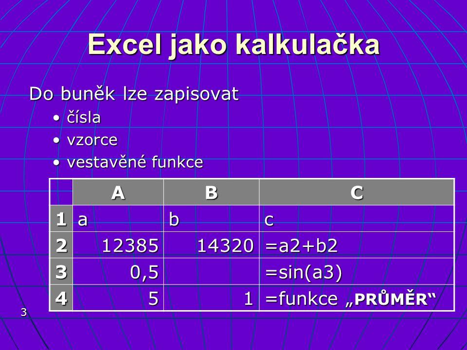 3 Excel jako kalkulačka Do buněk lze zapisovat číslačísla vzorcevzorce vestavěné funkcevestavěné funkce ABC 1abc 21238514320=a2+b2 30,5=sin(a3) 451 =f
