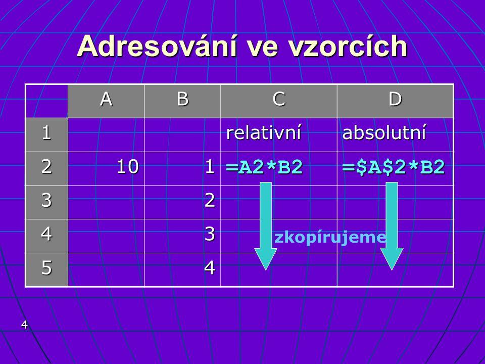 4 Adresování ve vzorcích ABCD 1relativníabsolutní 2101=A2*B2 =$A$2*B2 32 43 54 zkopírujeme