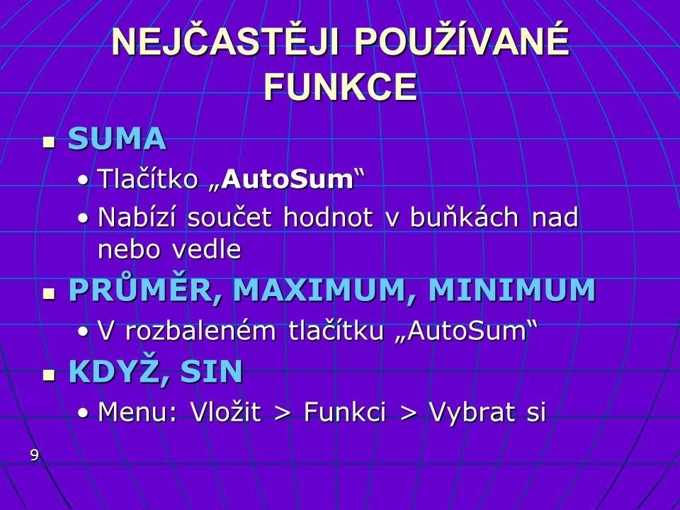 """9 NEJČASTĚJI POUŽÍVANÉ FUNKCE SUMA SUMA Tlačítko """"AutoSum""""Tlačítko """"AutoSum"""" Nabízí součet hodnot v buňkách nad nebo vedleNabízí součet hodnot v buňká"""