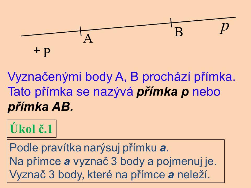 B A p + P Vyznačenými body A, B prochází přímka.Tato přímka se nazývá přímka p nebo přímka AB.