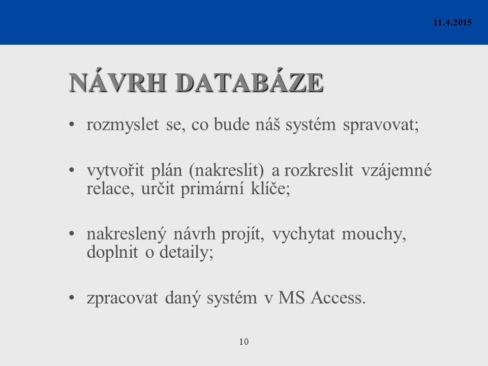 10 11.4.2015 NÁVRH DATABÁZE rozmyslet se, co bude náš systém spravovat; vytvořit plán (nakreslit) a rozkreslit vzájemné relace, určit primární klíče;