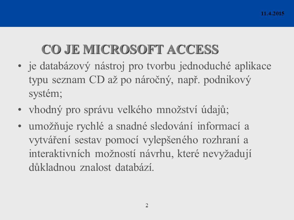 2 11.4.2015 CO JE MICROSOFT ACCESS je databázový nástroj pro tvorbu jednoduché aplikace typu seznam CD až po náročný, např. podnikový systém; vhodný p