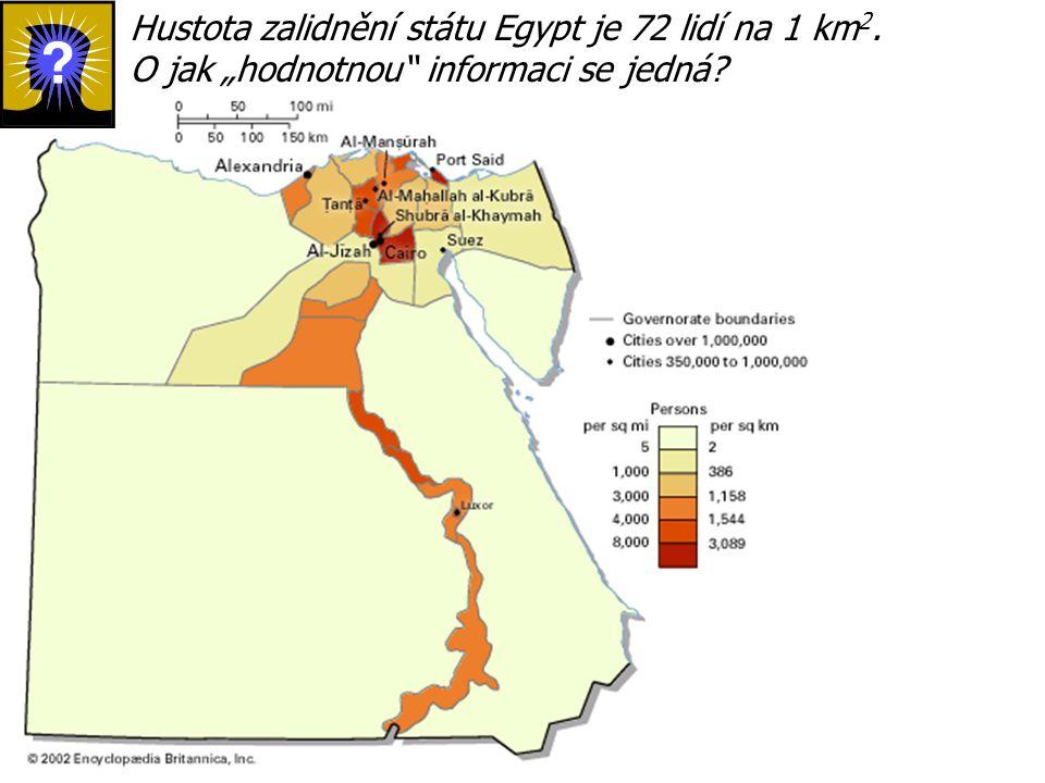 """Hustota zalidnění státu Egypt je 72 lidí na 1 km 2. O jak """"hodnotnou"""" informaci se jedná?"""