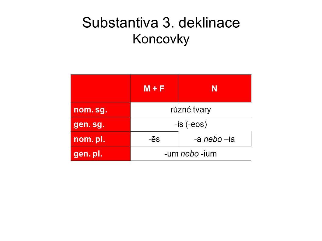 Substantiva 3.deklinace Koncovky M + FN nom. sg.různé tvary gen.