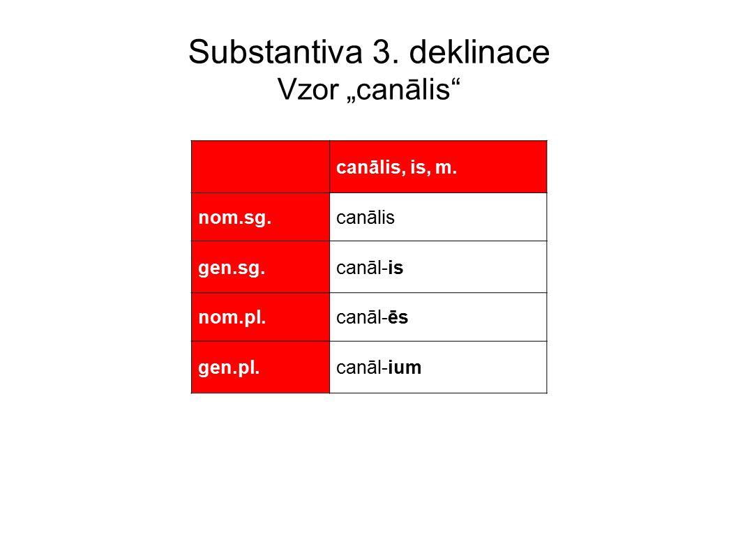 "Substantiva 3.deklinace Vzor ""canālis canālis, is, m."