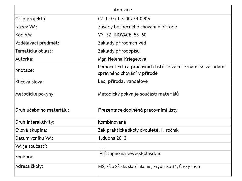 Anotace Číslo projektu: CZ.1.07/1.5.00/34.0905 Název VM:Zásady bezpečného chování v přírodě Kód VM:VY_32_INOVACE_53_60 Vzdělávací předmět:Základy přír
