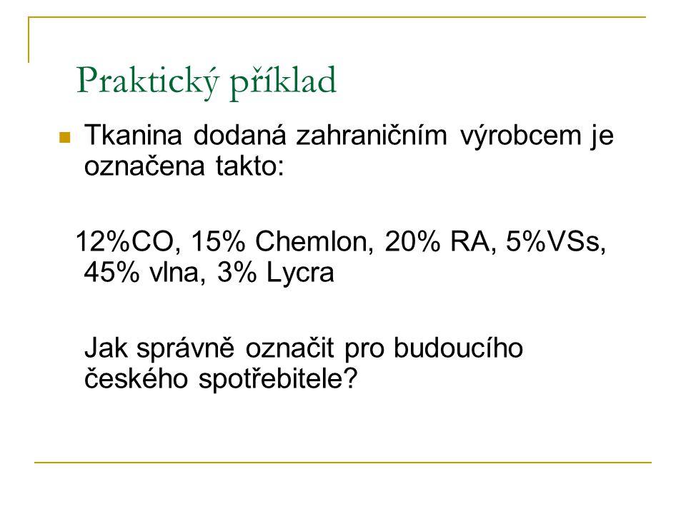 Označování textilních výrobků složených ze dvou a více částí §7 2. Označení jednotlivých částí musí být zřejmé tzn. jasné, ke které části se vztahují