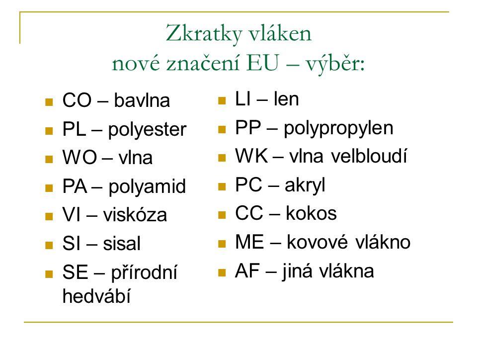 Zkratky vláken – staré značení (zrušeno v roce 1998) ba, ln, vl, ph – přírodní vlákna VS, AT – chemická vlákna z přírodních polymerů PAD, POP, PES, PA