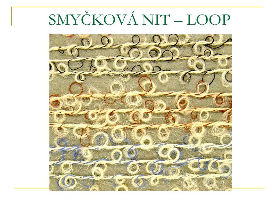SMYČKOVÁ NIT – LOOP Na povrchu jsou větší smyčky. Smyčky se tvoří tím, že k základní niti je přiskávána rychleji dodávaná smyčková nit.