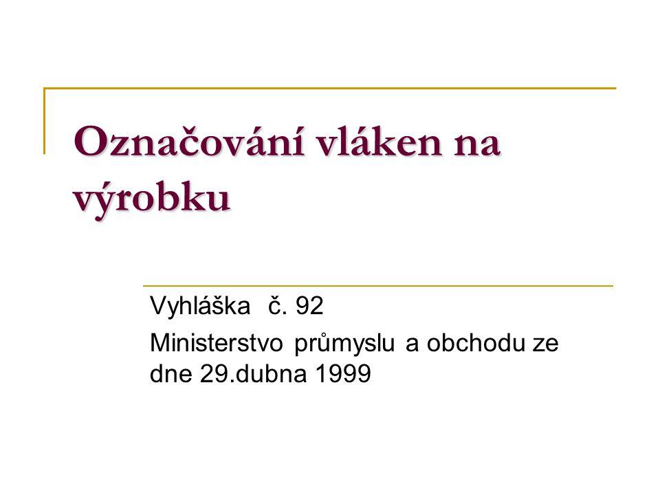 Označování vláken na výrobku Vyhláška č. 92 Ministerstvo průmyslu a obchodu ze dne 29.dubna 1999