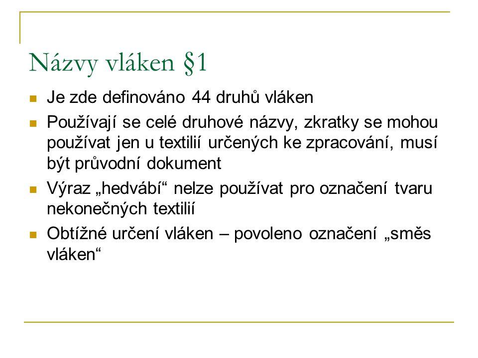 Praktický příklad Tkanina dodaná zahraničním výrobcem je označena takto: 12%CO, 15% Chemlon, 20% RA, 5%VSs, 45% vlna, 3% Lycra Jak správně označit pro budoucího českého spotřebitele?