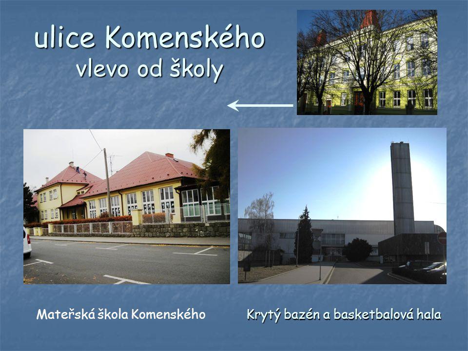 ulice Komenského vlevo od školy Mateřská škola Komenského Krytý bazén a basketbalová hala