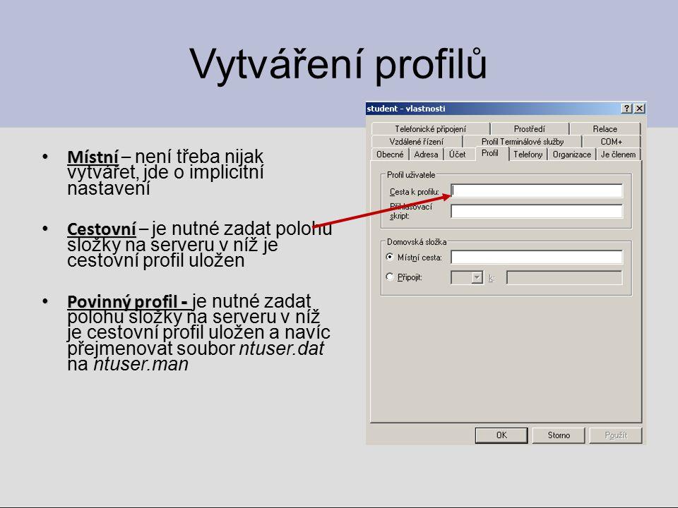 Logon script  Kromě profilů je možné každému doménovému účtu přiřadit další vlastnosti: ◦ Logon script – příkazový soubor (*.bat, *.js, *.vbs, *.cmd, *.exe), na jednom řádku je jeden příkaz.