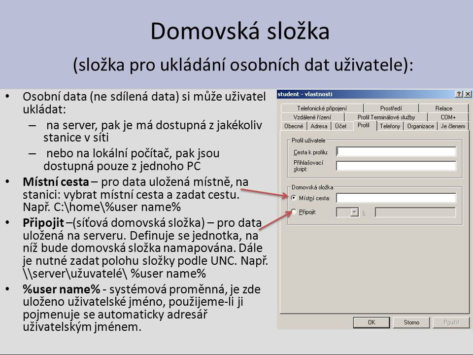 Vytvořte uživatele cecilie a vytvořte pro něho cestovní uživatelský profil Řešení: 1.Vytvořit uživatele cecilie (na serveru) 2.Na serveru vytvořit složku pro profil cecilie, např.: c:\profily\cecilie 3.Ve vlastnostech účtu cecilie zadat cestu k složce profilu (zadávat při pohledu ze stanice XP) 4.Nezapomeňte přidělit správná práva a sdílení!!.