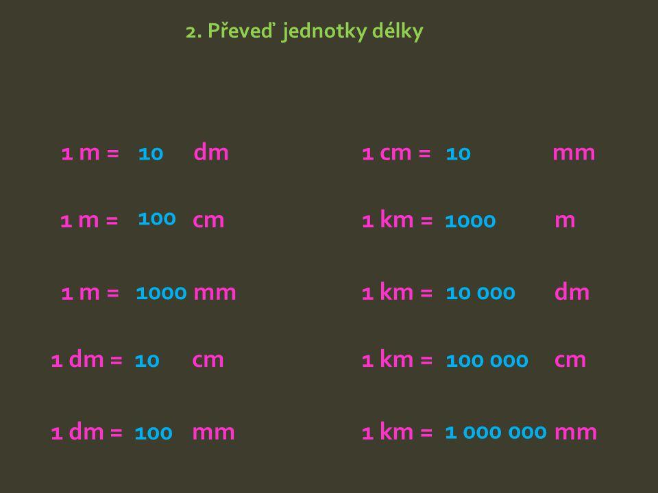 2. Převeď jednotky délky 1 m = dm 1 m = cm 1 m = mm 1 dm = cm 1 dm = mm 1 cm = mm 1 km = m 1 km = dm 1 km = cm 1 km = mm 10 100 1000 10 100 1 000 000