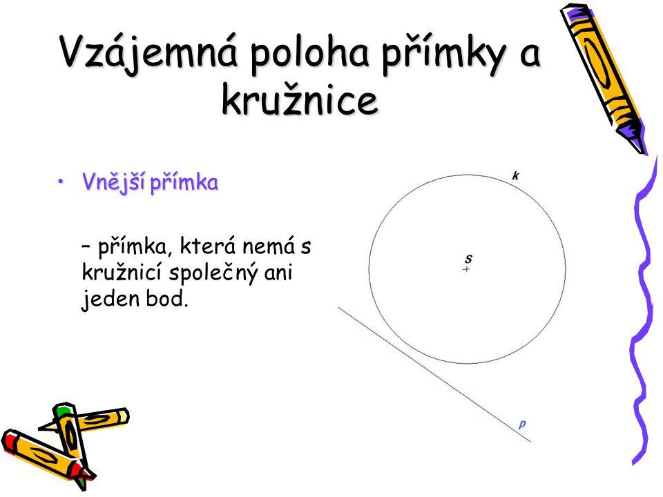 SečnaSečna – přímka protínající kružnici ve dvou různých bodech TečnaTečna – má s kružnicí právě jeden společný bod a je kolmá na průměr (poloměr) TětivaTětiva – část sečny uvnitř kružnice, nejdelší tětivou je průměr