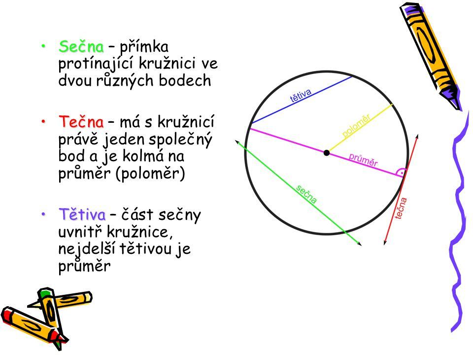 SečnaSečna – přímka protínající kružnici ve dvou různých bodech TečnaTečna – má s kružnicí právě jeden společný bod a je kolmá na průměr (poloměr) Tět