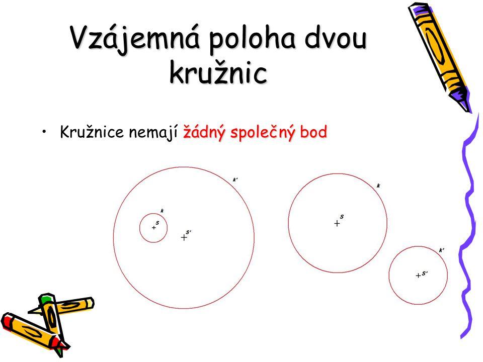 Vzájemná poloha dvou kružnic žádný společný bodKružnice nemají žádný společný bod