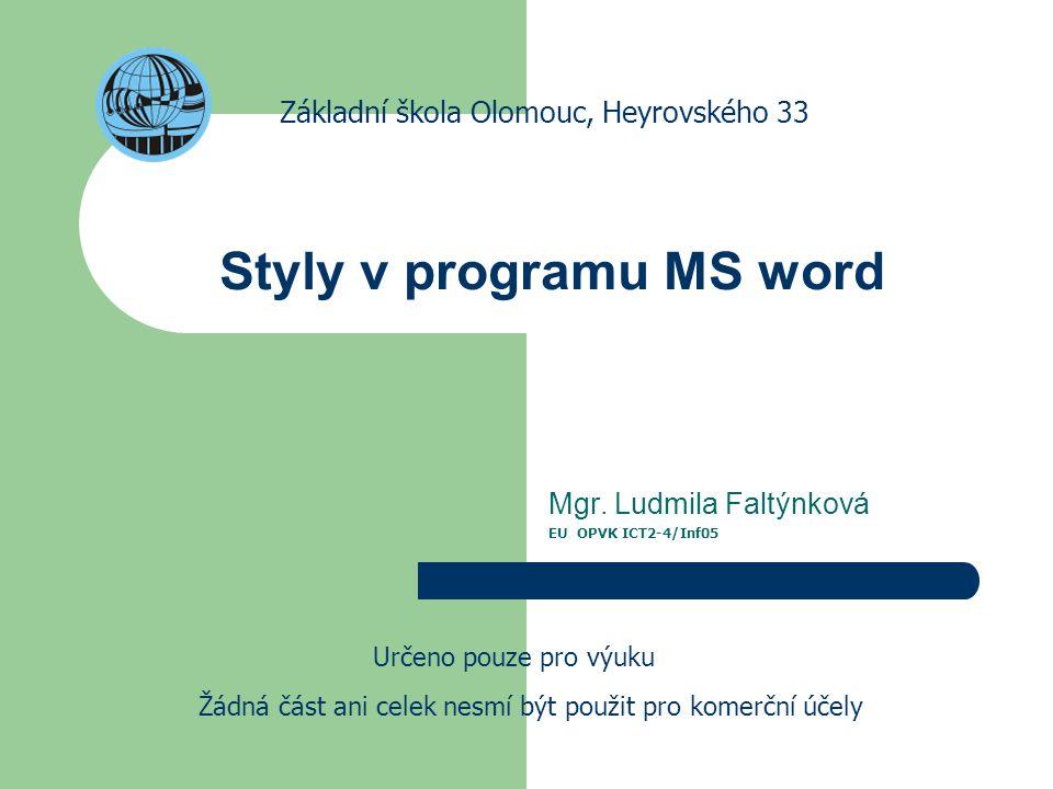 Styly v programu MS word Mgr.
