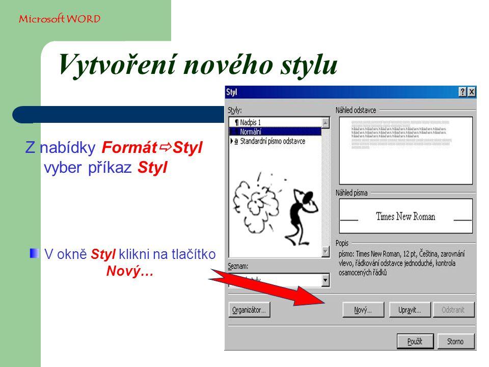 Vytvoření nového stylu Z nabídky Formát  Styl vyber příkaz Styl Microsoft WORD V okně Styl klikni na tlačítko Nový…