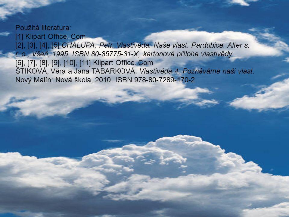 Použitá literatura: [1] Klipart Office. Com [2], [3], [4], [5] CHALUPA, Petr. Vlastivěda: Naše vlast. Pardubice: Alter s. r. o., Všeň, 1995. ISBN 80-8