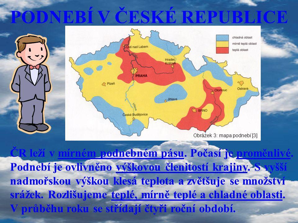 PODNEBÍ V ČESKÉ REPUBLICE ČR leží v mírném podnebném pásu. Počasí je proměnlivé. Podnebí je ovlivněno výškovou členitostí krajiny. S vyšší nadmořskou