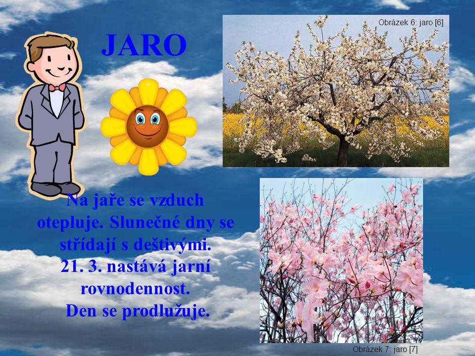JARO Na jaře se vzduch otepluje. Slunečné dny se střídají s deštivými. 21. 3. nastává jarní rovnodennost. Den se prodlužuje. Obrázek 6: jaro [6] Obráz