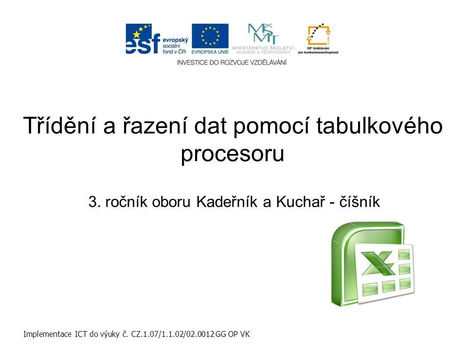 Učební obor: Kadeřník a Kuchař - číšník Ročník: 3 Implementace ICT do výuky č.